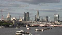 ULTRA HD 4K Panorama London landmark St Paul Church business tower bridge iconic Stock Footage