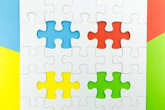 jigsaw puzzle use for business background - stock photo