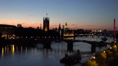 ULTRA HD 4K Panoramic view London landmark sunset sunrise Parliament Eye flyer   Stock Footage