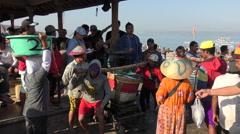 Bali Jimbaran Fish market  weighing  mackerel baskets 4K Stock Footage