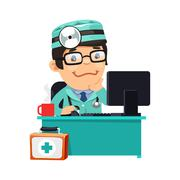 Doctor at His Desk Stock Illustration
