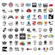 Large set of vector logos photo and video production Stock Illustration