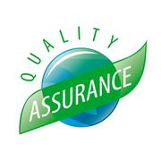 Round vector logo quality assurance - stock illustration