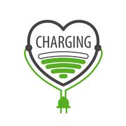 Stock Illustration of vector logo charger in the form of heart