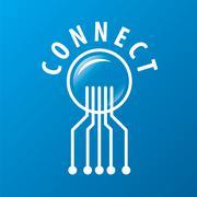 vector logo chip network connectivity - stock illustration