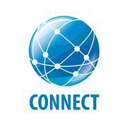 Vector logo global network worldwide Stock Illustration