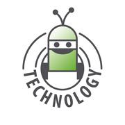 vector logo robot with two antennas - stock illustration
