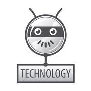 vector logo round robot head - stock illustration