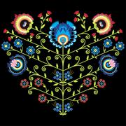 Polish folk floral pattern in heart shape on black background Stock Illustration