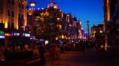China Town Heihe Pedestrian Street at Night Stock Footage