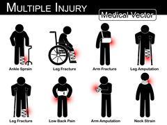 Multiple injury set ( Ankle sprain , Leg fracture , Arm fracture , Leg amputa - stock illustration