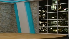 Stock Video Footage of News TV Studio Set 82 - Virtual Green Screen Background Loop