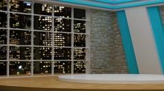 News TV Studio Set 81 - Virtual Green Screen Background Loop Stock Footage