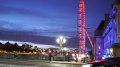 View from Westminster Bridge in the evening - stock footage
