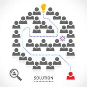 Finding the right solution in a labyrinth - stock illustration