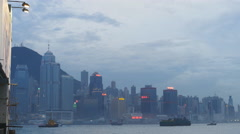 Various Hong Kong vessels in the evening 4K Stock Footage