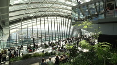 Wide angle shot of Walkie Talkie Sky Garden - no property release Stock Footage