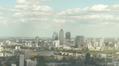 Aerial view on Canary Warf on a sunny day Stock Footage