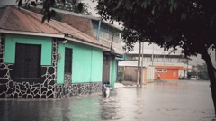 Flooded neighborhood Stock Footage