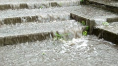 Flood steps anomaly weather close up Stock Footage