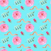 Watercolor rose and worm in vintage style - stock illustration