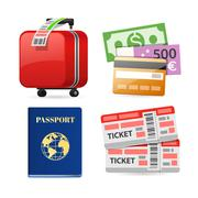 Colorful Travel Planning Icons - stock illustration