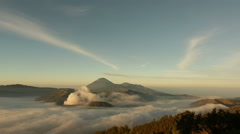Time lapse video of three volcanoes together in Tengger Semeru National Park. Stock Footage