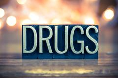 Drugs Concept Metal Letterpress Type - stock photo