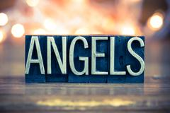 Angels Concept Metal Letterpress Type Stock Photos