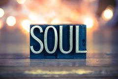 Soul Concept Metal Letterpress Type Stock Photos