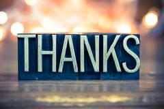 Thanks Concept Metal Letterpress Type Stock Photos