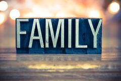 Family Concept Metal Letterpress Type Stock Photos