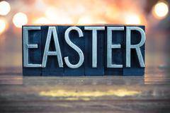 Easter Concept Metal Letterpress Type Kuvituskuvat