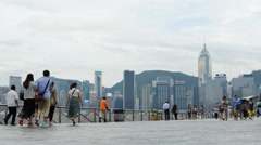 Tourists time lapse Hong Kong promenade 4K Stock Footage