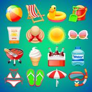 Colorful Summer Icons Set - stock illustration