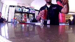 Airport Terminal Bar Bartender Serving Preflight Cocktail Drink Alcohol Vacation Stock Footage