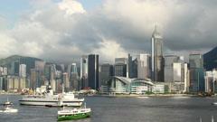 Cruise ship passing through Victoria Harbor, Hong Kong Stock Footage