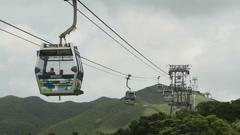 Ngong Ping 360 Cable Car in Hong Kong Stock Footage