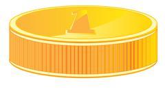 Gold coin - stock illustration