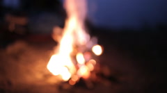 A Fire At A Picnic In The Evening, Out Of Focus - stock footage