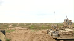 American Abrams Tanks and Danish Leopard Tanks live fire - stock footage