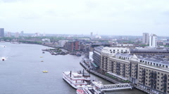 View from the top of Tower Bridge in London - stock footage