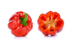 Red paprika isolated on the white background - stock photo