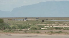F-16's fighter jets arriving at Holloman AFB Stock Footage