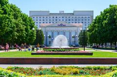 Fountain in park at Gomel Regional Library named after Lenin - stock photo