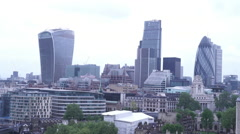 The City of London on a rainy day - view from the top of Tower Bridge - stock footage