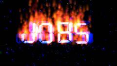 Job burning text flying Stock Footage