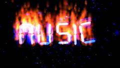 Music flying burning text - stock footage