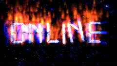 Online burning flying text - stock footage