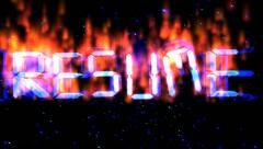 Resume flying  burning text Stock Footage